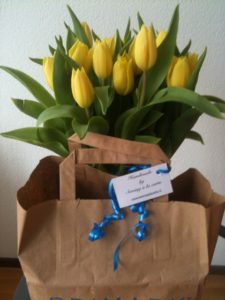 Thirty fabric blue Tulipomania