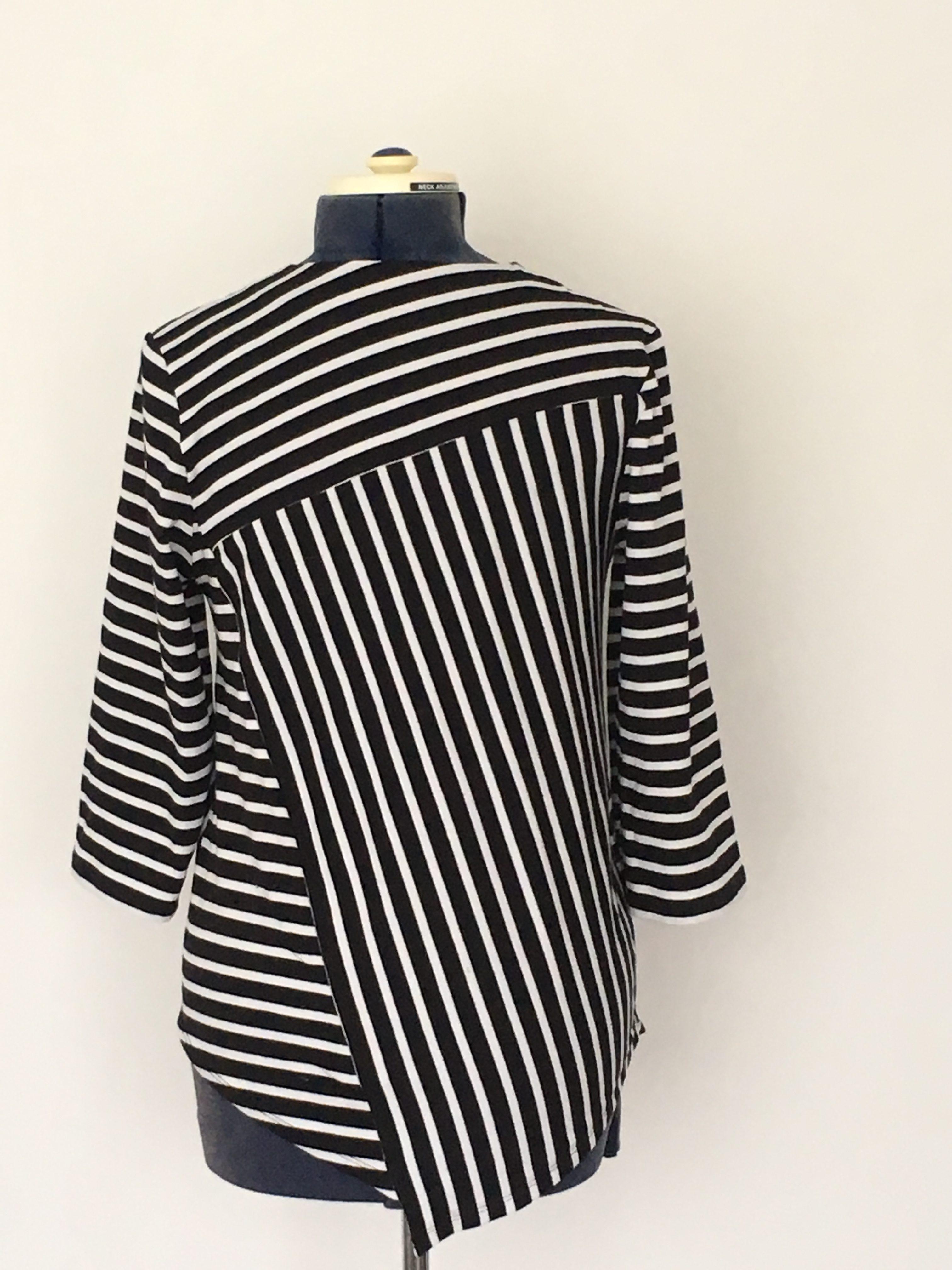 Homemade Black White striped asymmetric cut Top