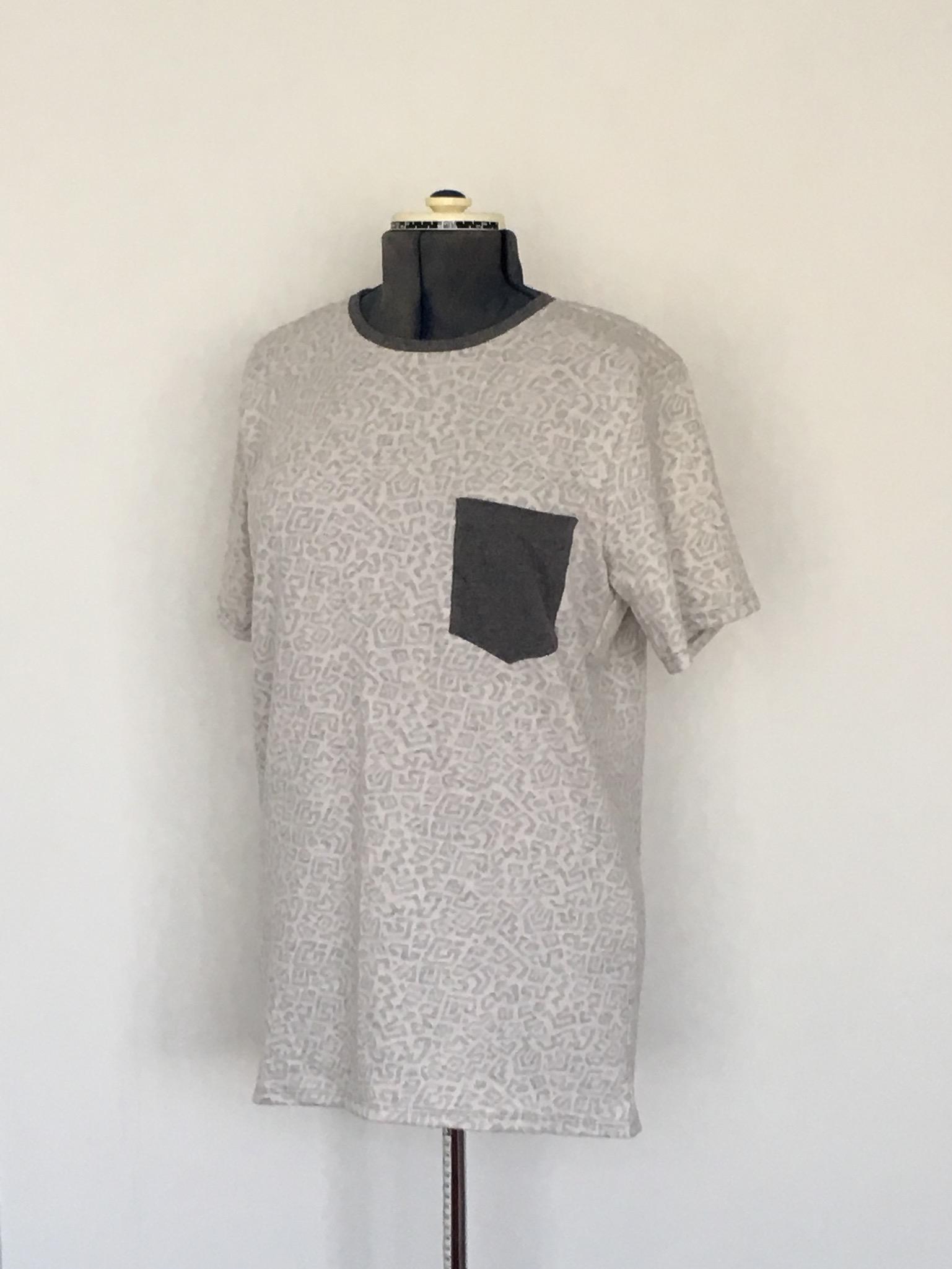 Grey White graphic design Leisure wear male T-shirt