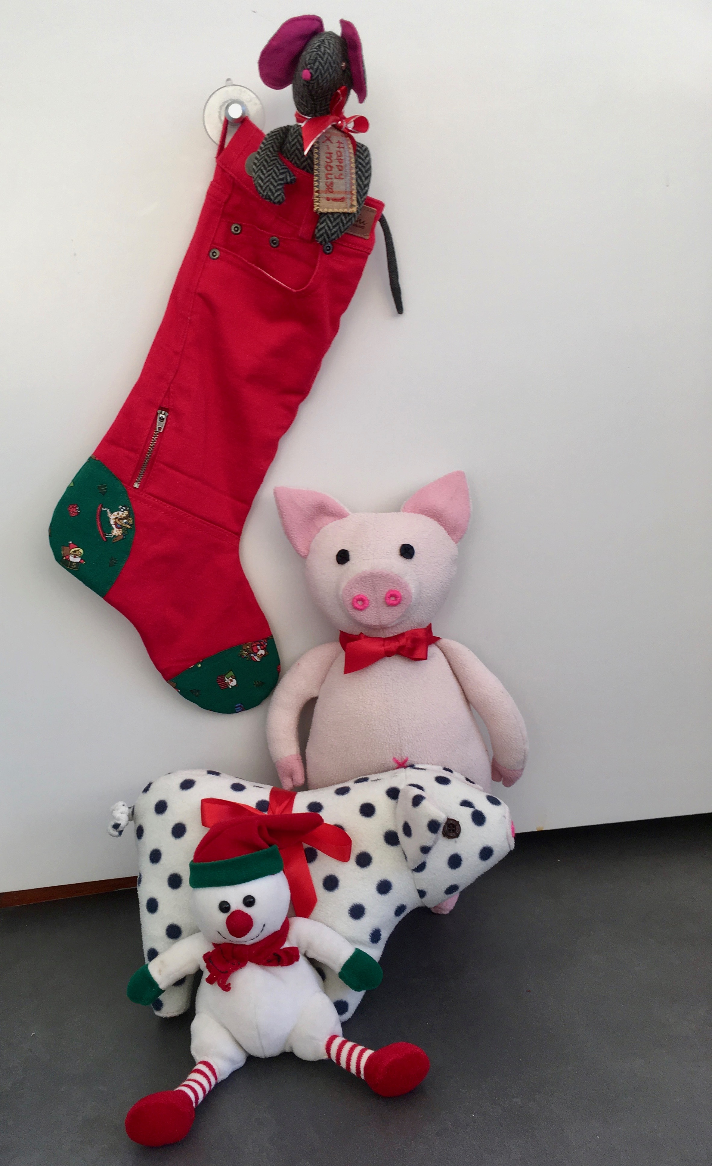 Two Homemade Good Luck Pigs