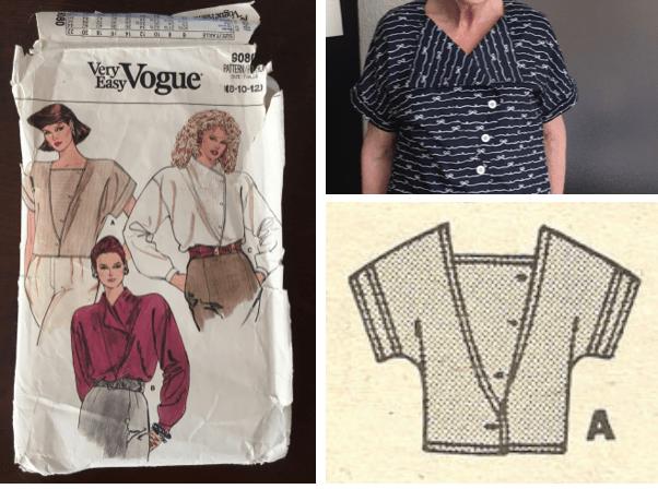 Vogue 9080 1980s kimonostijl blouse