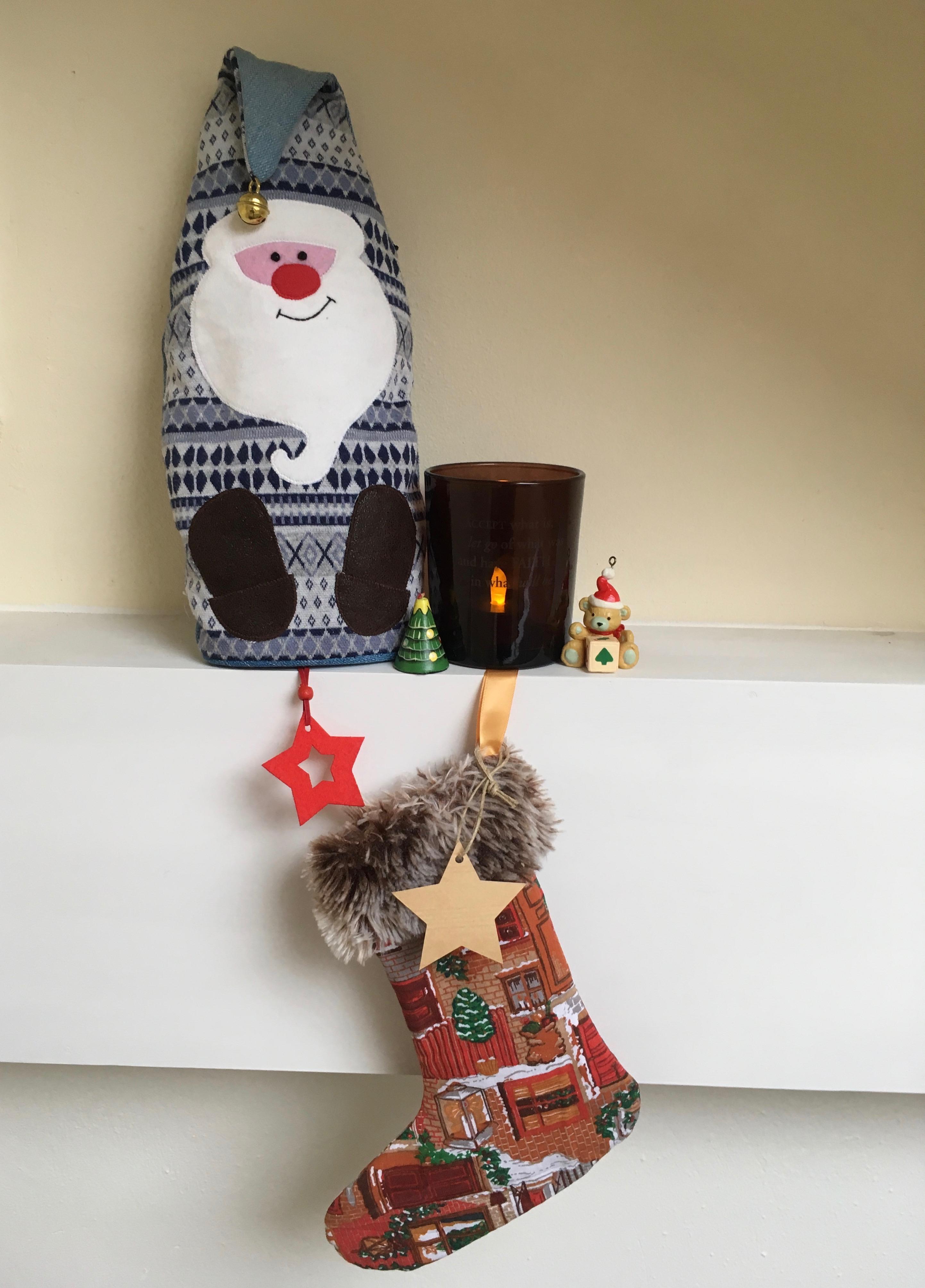 Zelfgemaakt kerstsokje met bontrand