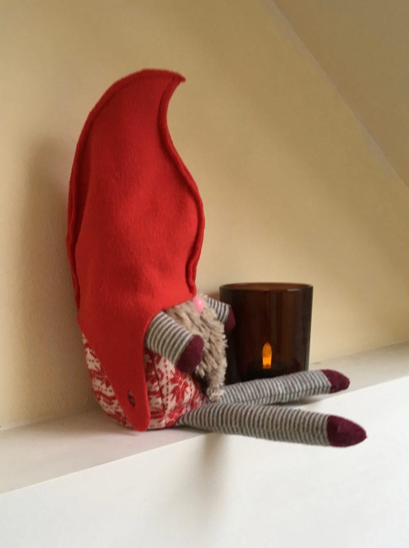 Homemade Christmas gnome using discarded socks